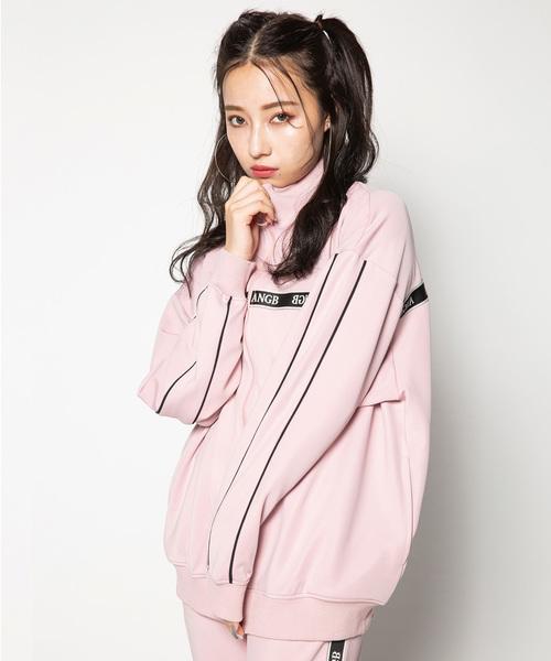 ANDGEEBEE(アンジービー)の「【UNISEX】ロゴテープラインジャージ(その他アウター)」|ピンク