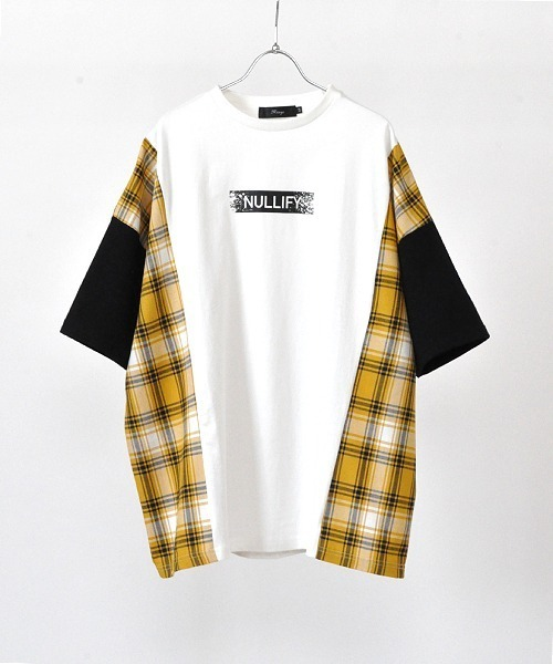 UP START(アップスタート)の「サイドチェックビッグTee(Tシャツ/カットソー)」|ホワイト