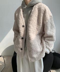 【chuclla】【2020/AW】Collarless boa jacket chw1401