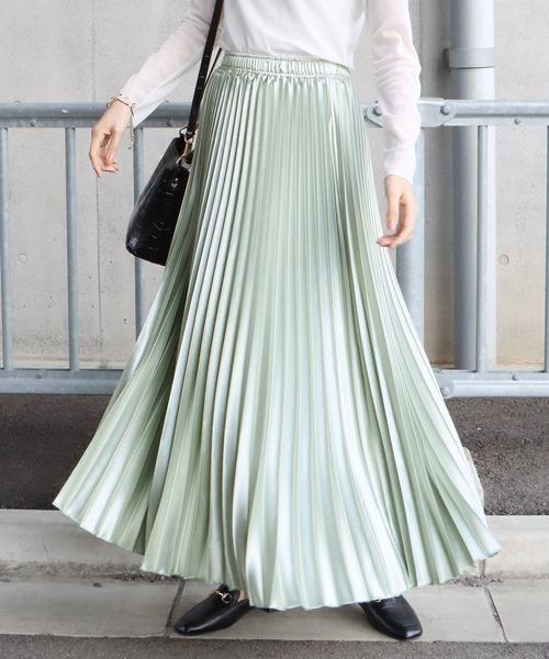 BLUEEAST(ブルーイースト)の「シャイニーサテンロングプリーツスカート(スカート)」|ミント