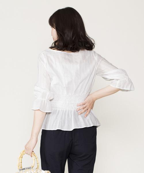 12Twelve Agenda(トゥエルブ アジェンダ)の「綿ストライプ刺繍コルセット風ブラウス(シャツ/ブラウス)」|詳細画像