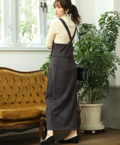 ViS(ビス)の「ハイウエストスエードジャンパースカート(ジャンパースカート)」|スミクロ