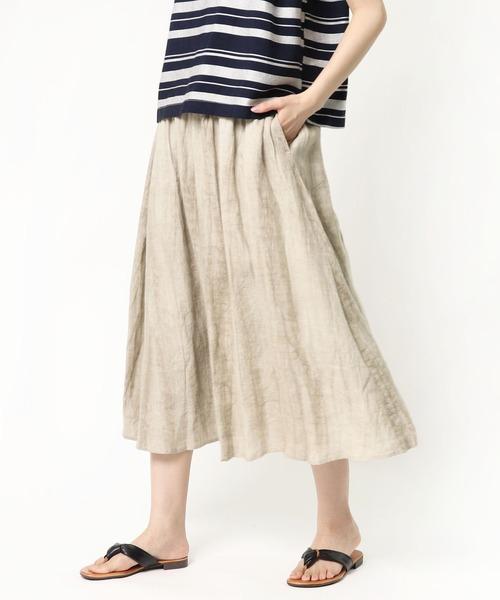 ∴【 salle de bal / サルデバル 】 ムラ染めフレアリネンスカート