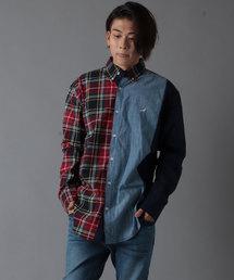 【STAPLE】ワンポイント刺繍 デニム&チェック配色切替 長袖シャツ(シャツ/ブラウス)