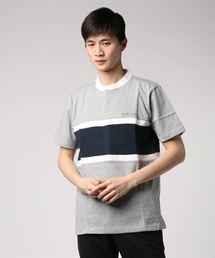 スタンドカラー切り替えTシャツ ワンポイント刺繍 ライン ボーダー ユニセックス杢グレー