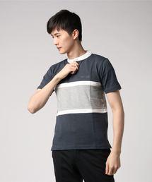 スタンドカラー切り替えTシャツ ワンポイント刺繍 ライン ボーダー ユニセックスチャコールグレー