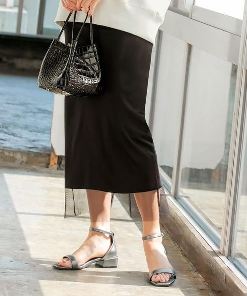 STYLE DELI(スタイルデリ)の「チュールカバーストレッチペンシルスカート(スカート)」|ブラック