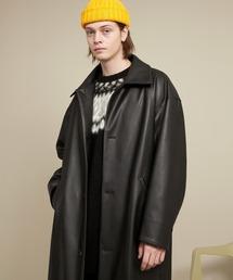シンセティックレザー オーバサイズ ルーズスリーブバルカラーコート EMMA CLOTHES 2020AWブラック