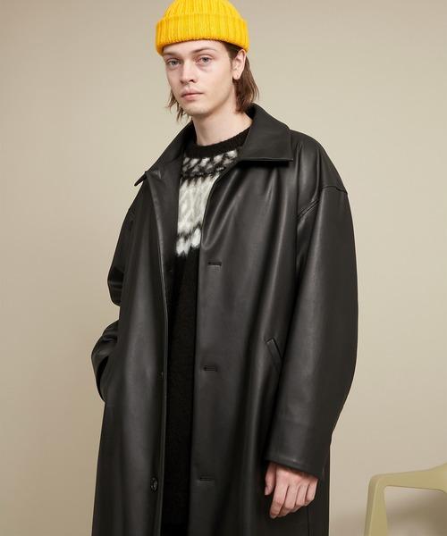 シンセティックレザー オーバサイズ ルーズスリーブバルカラーコート EMMA CLOTHES