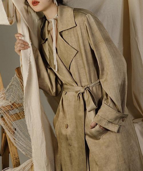 【MURMURMI】Uneven dyeing trench coat chw21a012