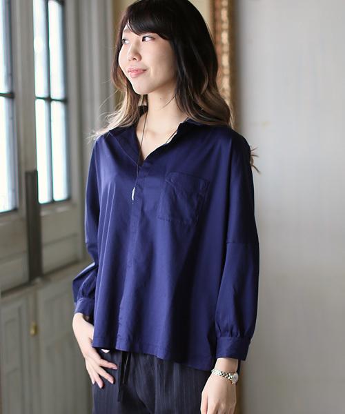 quadro(クオドロ)の「コンパクトクールローレル天竺9分袖シャツ(シャツ/ブラウス)」|ネイビー