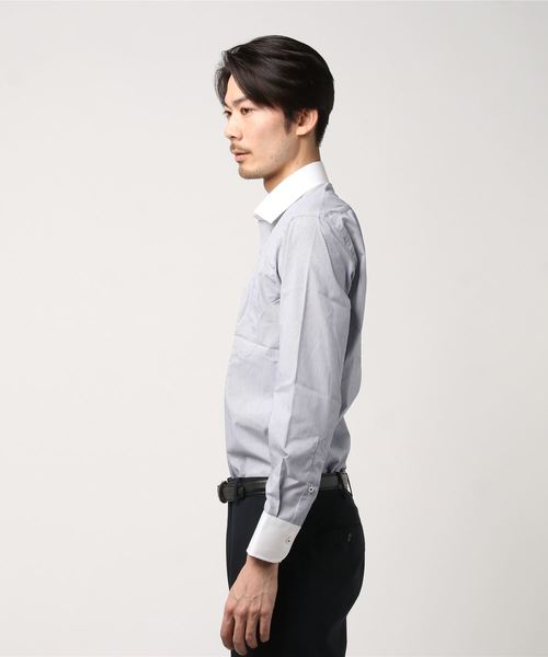 長袖シャツ 形態安定 ブルーストライプ柄 クレリックセミワイド 通年