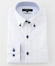 MEN'S MELROSE(メンズメルローズ)のHITOYOSHIホワイトドビーイージーケアドレスシャツ(シャツ/ブラウス)