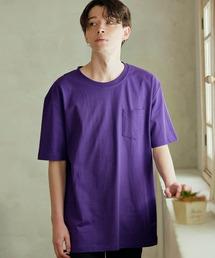 ヘビーウェイト ビッグシルエット USAコットン プルオーバー 無地T トップス Tシャツ (1/2 sleeve)パープル