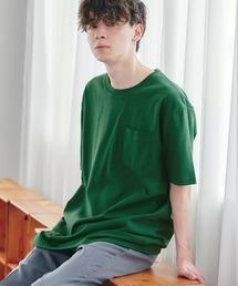 ヘビーウェイト ビッグシルエット USAコットン プルオーバー 無地T トップス Tシャツ (1/2 sleeve)グリーン系その他