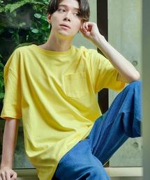 ヘビーウェイト ビッグシルエット USAコットン プルオーバー 無地T トップス Tシャツ (1/2 sleeve)イエロー系その他