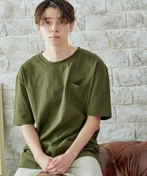 ヘビーウェイト ビッグシルエット USAコットン プルオーバー 無地T トップス Tシャツ (1/2 sleeve)オリーブ