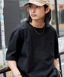 ヘビーウェイト ビッグシルエット USAコットン プルオーバー 無地T トップス Tシャツ (1/2 sleeve)ブラック