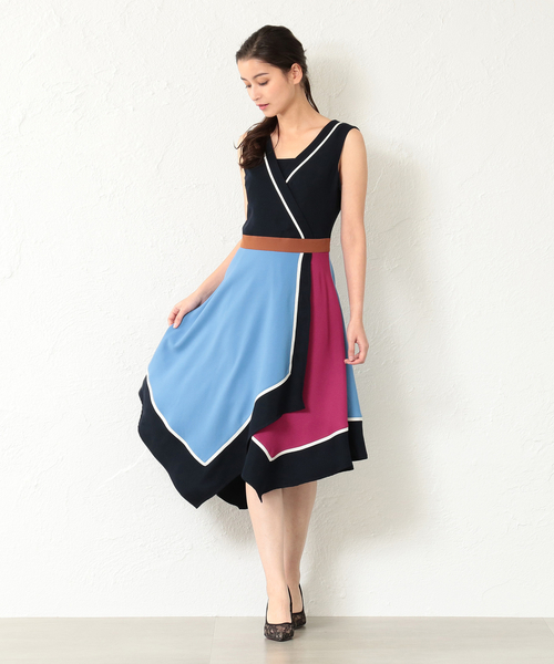 【LOVELESS】WOMEN アシンメトリーカラーブロックドレス