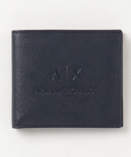 【A|Xアルマーニ エクスチェンジ】A|Xエンボスロゴ 二つ折り財布(コインケース付き)