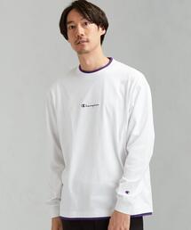 別注 [ チャンピオン ] SC Champion フェイクレイヤード ロゴ LS Tシャツ †