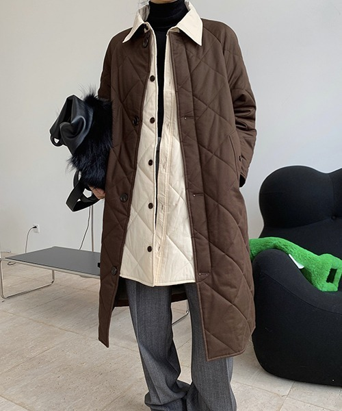 【chuclla】【2020/AW】Contras color quilting coat chw1403