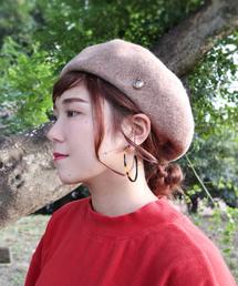 polcadot(ポルカドット)のチャームつき バスクベレー(ハンチング/ベレー帽)