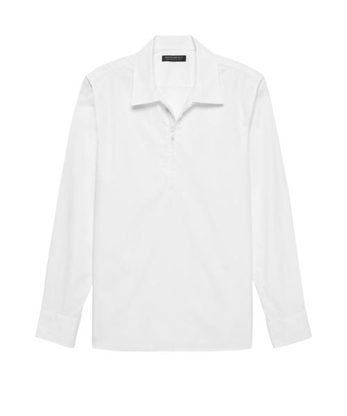 オーバーサイズ リュクス ポプリン ハーフジップシャツ
