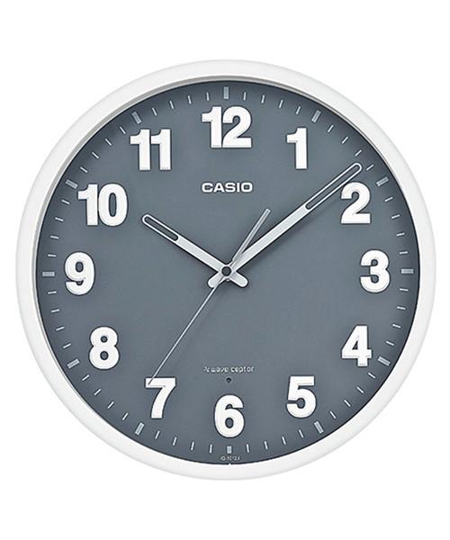 CASIO(カシオ)の「電波時計 壁掛け時計 / IQ-1012J-8JF(掛け時計)」 グレー×ホワイト