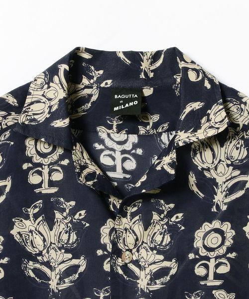 BAGUTTA / 別注 フラワープリント オープンカラーシャツ
