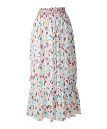 YOKO DOLL MIX柄 ギャザースカートオフホワイト