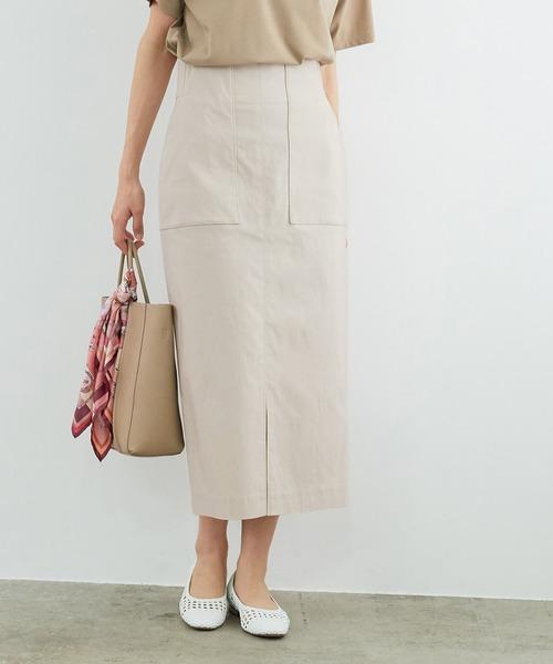 ROPE'(ロペ)の「ポケット付きストレッチタイトスカート(スカート)」|ベージュ系その他2