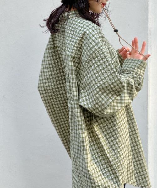 Kastane(カスタネ)の「【UNISEX】リサイクルヤーンチェックオーバーシャツ(シャツ/ブラウス)」|オリーブ