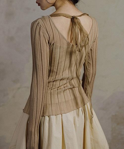 【MURMURMI】Back v-neck wide rib knit chw21a014