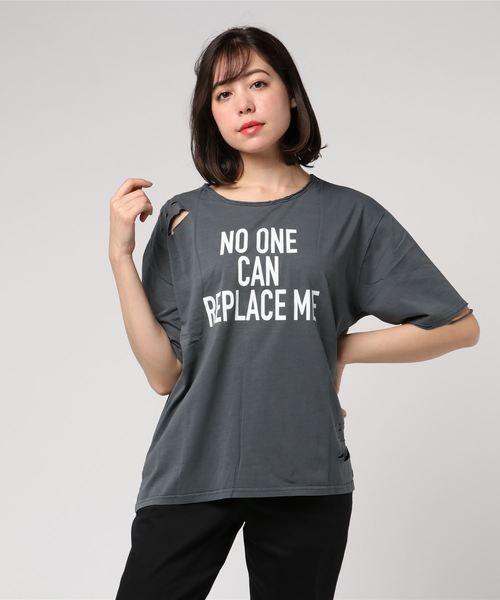 ダメージプリントオーバーTシャツ