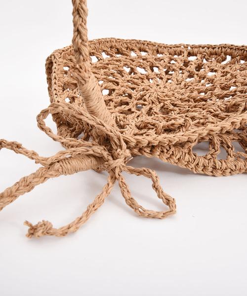 【LAUGOA】ペーパー透かし編みサークルショルダーバッグ/Spot 19126-12012