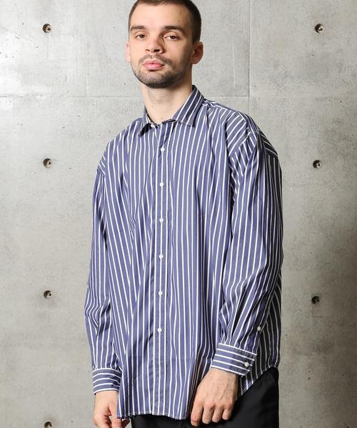 FUSE(フューズ)の「T/Cブロード貝殻ボタンストライプシャツ(シャツ/ブラウス)」|ネイビー