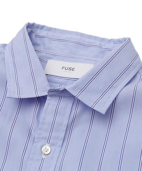 FUSE(フューズ)の「T/Cブロード貝殻ボタンストライプシャツ(シャツ/ブラウス)」|詳細画像