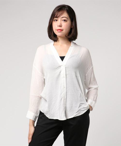 EGOIST(エゴイスト)の「楊柳シフォンノーカラーシャツ(シャツ/ブラウス)」 ホワイト