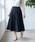 TIENS ecoute(ティアンエクート)の「サフィールギャザーミモレスカート(スカート)」|ネイビー