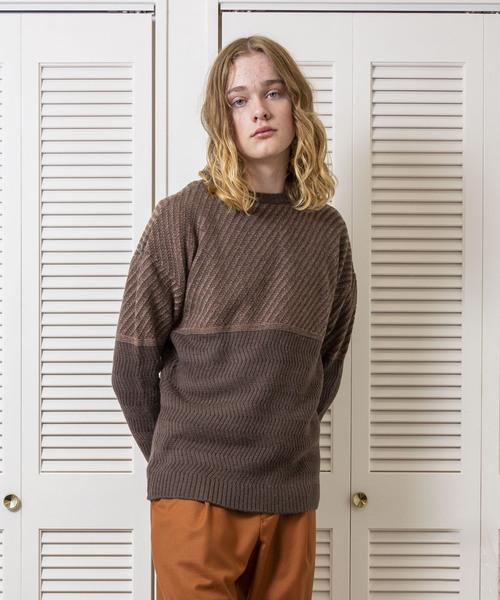FACTOTUM(ファクトタム)の「【FACTOTUM】アラン柄編み変えニットプルオーバー(ニット/セーター)」|ブラウン