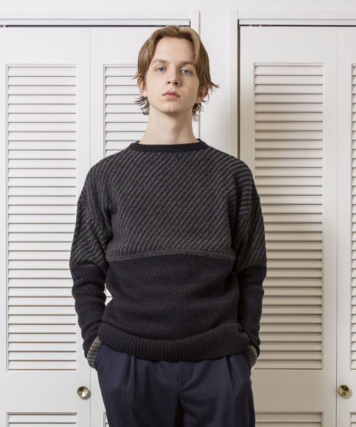 FACTOTUM(ファクトタム)の「【FACTOTUM】アラン柄編み変えニットプルオーバー(ニット/セーター)」|ブラック