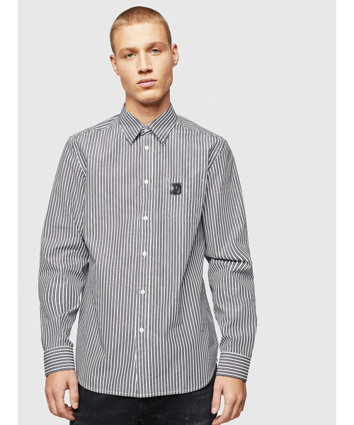 特別価格 メンズ シャツ 刺繍ストライプシャツ, ハッピーサニーショップ 7046d7ba