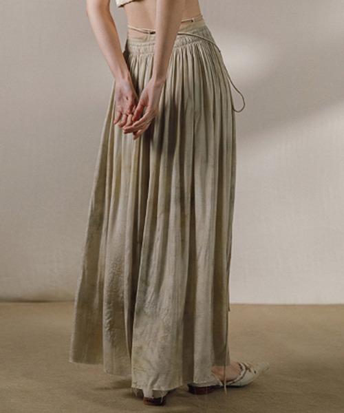 【MURMURMI】2way lace up linen skirt chw21a016