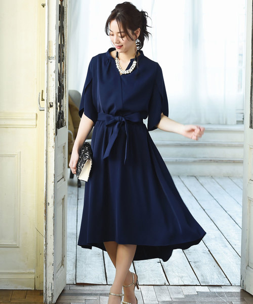 RUIRUE BOUTIQUE(ルイルエブティック)の「デザインスリーブフレアスカートセットアップ(2タイプ)/結婚式・お呼ばれ・二次会・同窓会・成人式対応フォーマルパーティードレス(ドレス)」|ブルー系その他
