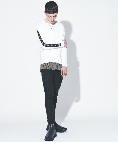 MESH LAYERED LONG SLEEVE TEE