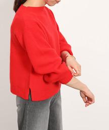 ROPE' mademoiselle(ロペマドモアゼル)の【AQUA】カシミヤブレンドボートネック袖パフニット(ニット/セーター)