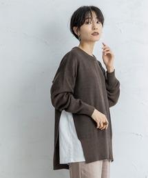 【CIENA】2way 配色ステッチニットブラウン