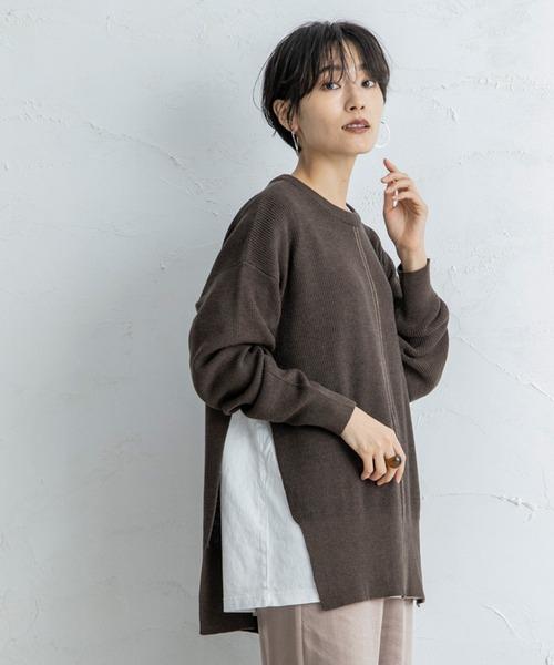 【CIENA】2way 配色ステッチニット