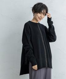 【CIENA】2way 配色ステッチニットブラック